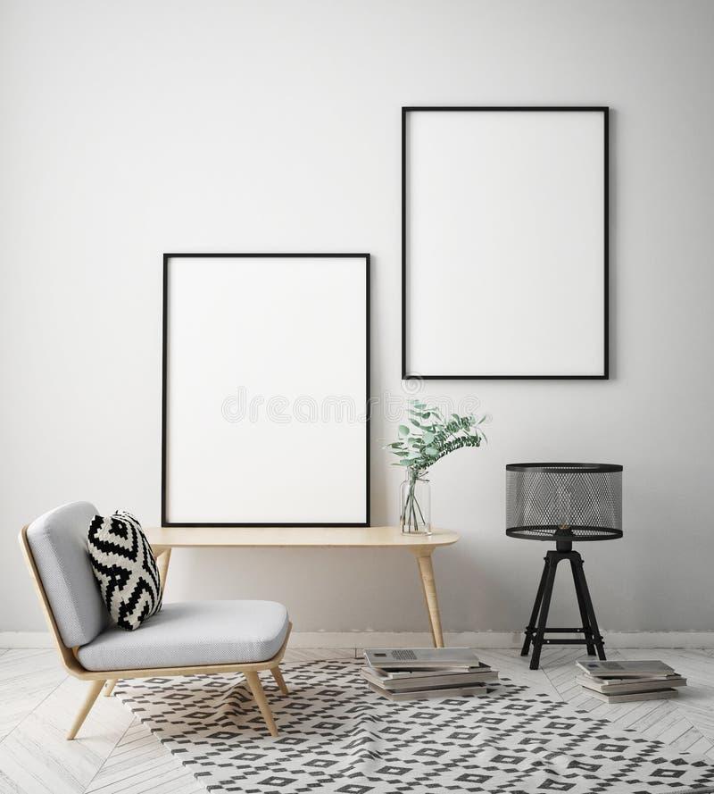 嘲笑海报框架在行家内部背景,斯堪的纳维亚样式, 3D中回报 向量例证