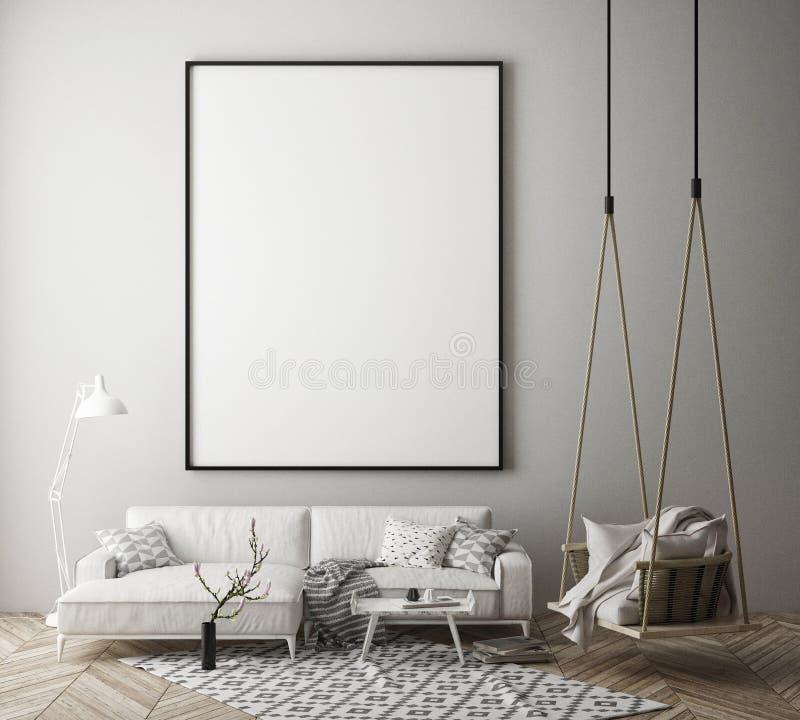 嘲笑海报框架在行家内部背景,斯堪的纳维亚样式, 3D中回报 库存例证