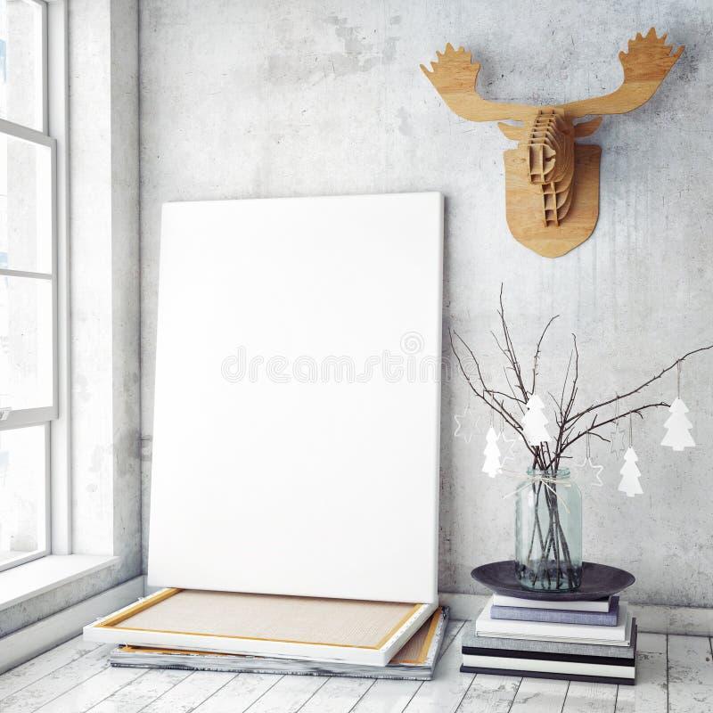 嘲笑海报框架在行家内部背景, christamas装饰中, 库存图片