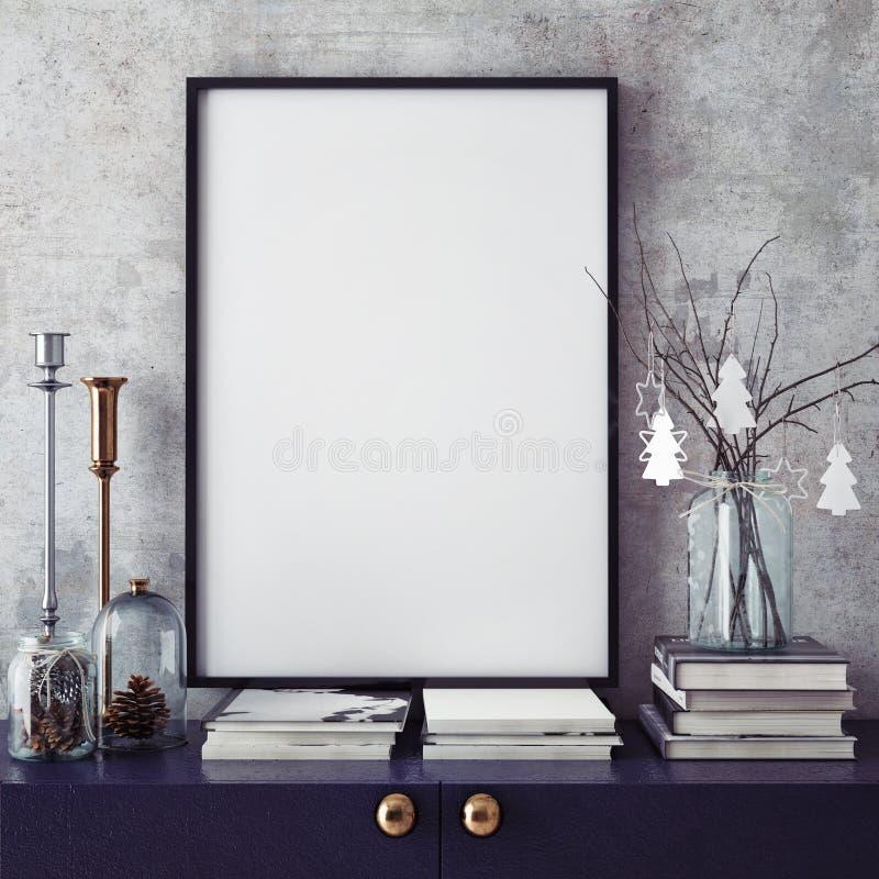 嘲笑海报框架在行家内部背景, christamas装饰中, 库存照片