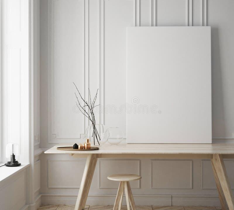 嘲笑海报框架在行家屋子,斯堪的纳维亚样式内部背景里 向量例证