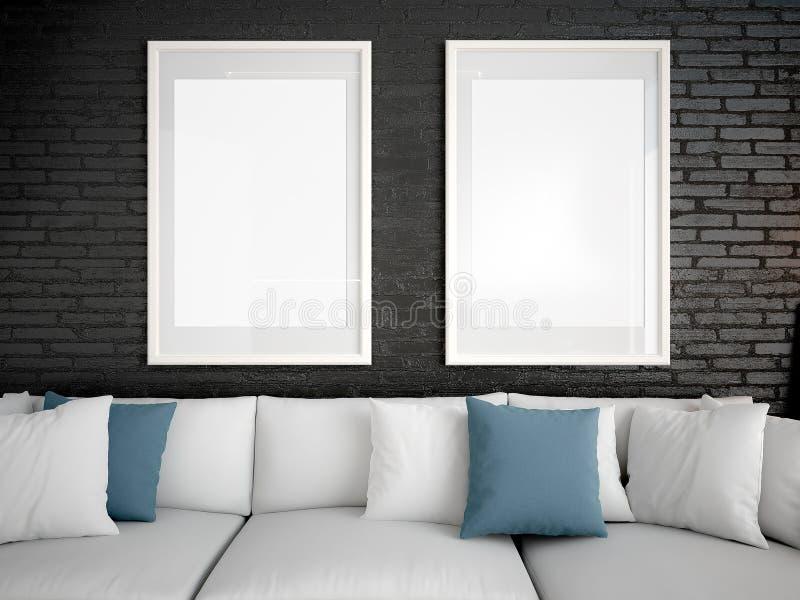 嘲笑海报框架模板,工作区嘲笑,沙发照明设备我 皇族释放例证