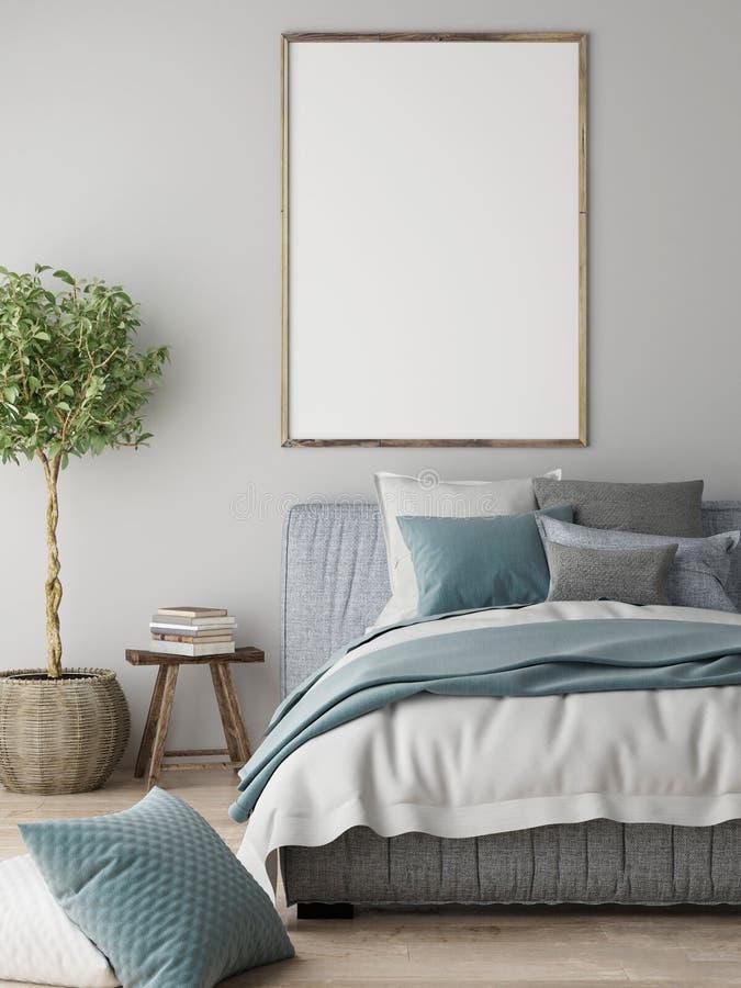 嘲笑海报,卧室内部概念,斯堪的纳维亚设计, 向量例证