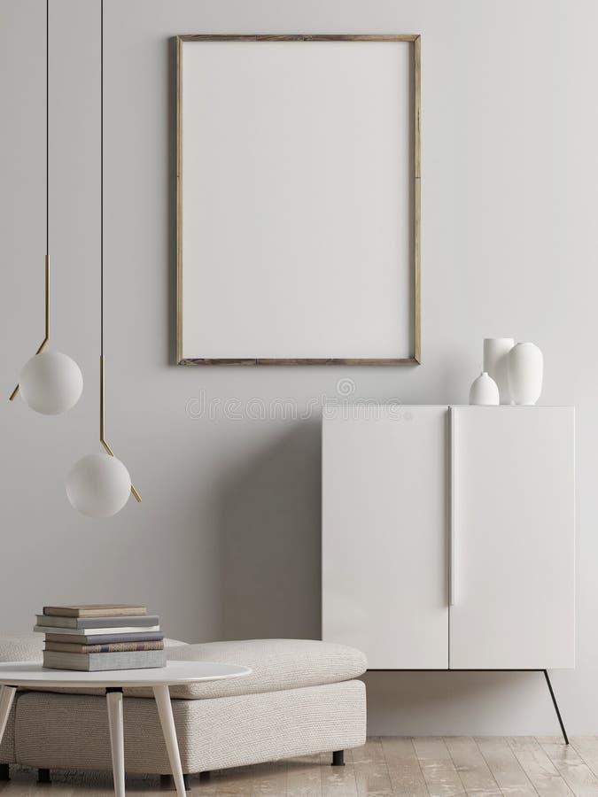 嘲笑海报,客厅内部概念,斯堪的纳维亚样式, 向量例证