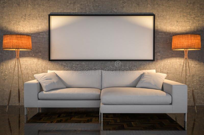 嘲笑海报,皮革沙发,混凝土墙背景, 3d illus 向量例证