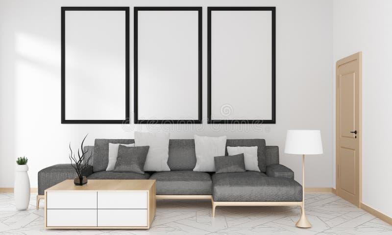 嘲笑灰色沙发在嘲笑的客厅日本现代样式,3D翻译 皇族释放例证
