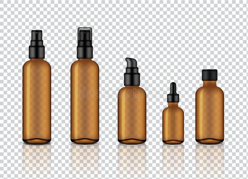 嘲笑现实光滑的琥珀色的透明玻璃化妆肥皂、香波、奶油、油吸管和浪花瓶设置与黑盖帽f 向量例证