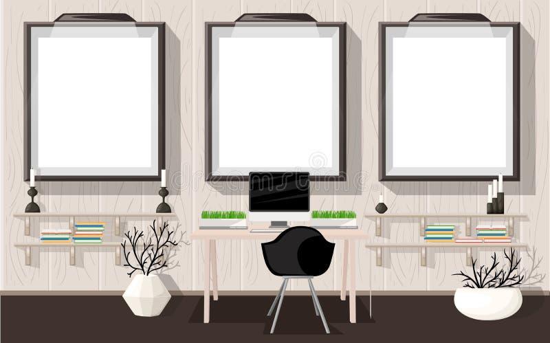 嘲笑现代办公室内部平的设计传染媒介例证工作场所概念工作场所概念 家庭现代办公室 向量例证