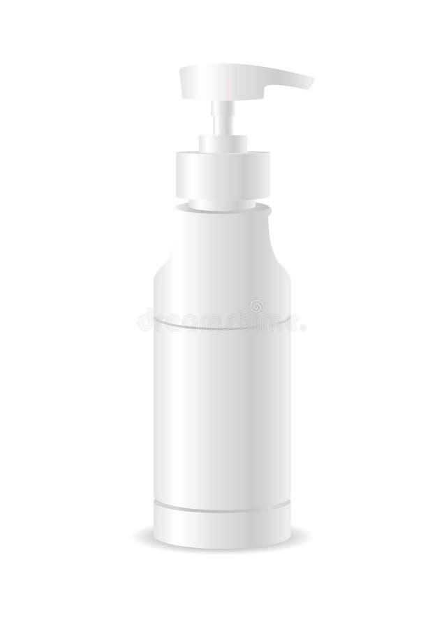 嘲笑的模板您的设计 现实化妆瓶能喷雾器容器 奶油、汤和其他化妆用品的分配器 库存例证