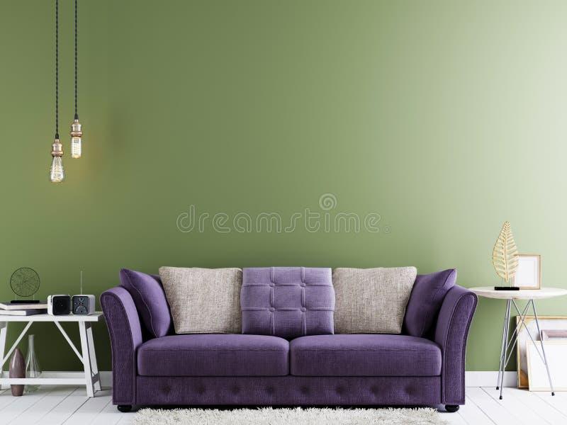 嘲笑的空的墙壁在现代行家内部的绿色墙壁上与紫罗兰色沙发和白色桌 皇族释放例证