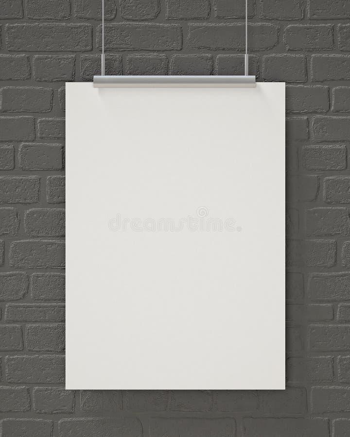 嘲笑空白的海报垂悬在灰色砖墙上的,背景 库存图片