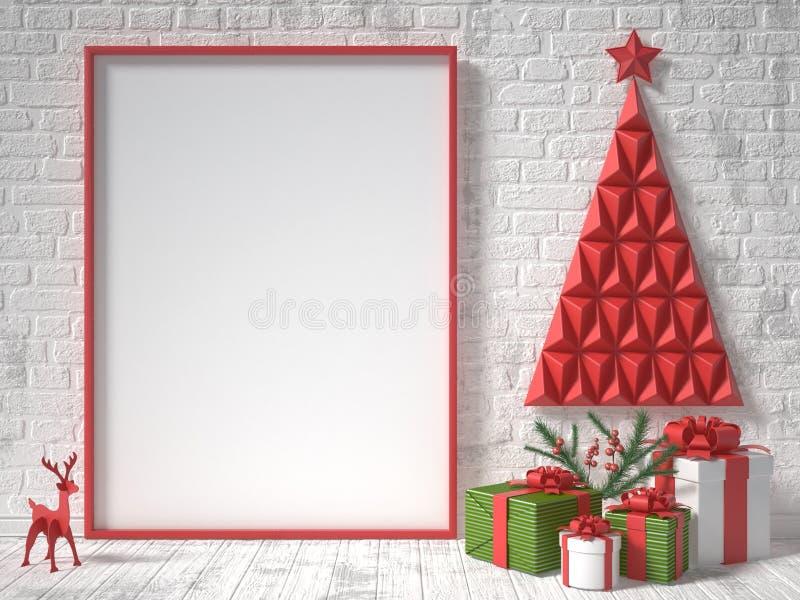 嘲笑空白的画框、圣诞节装饰和礼物 3d回报 库存照片