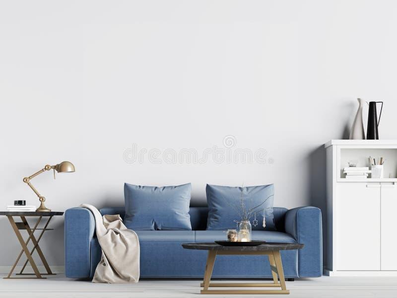 嘲笑空的墙壁在与蓝色沙发的内部背景,斯堪的纳维亚样式中 皇族释放例证