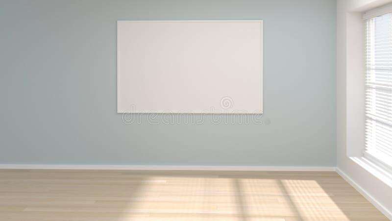 嘲笑空的室海报框架最小的概念3d例证 向量例证