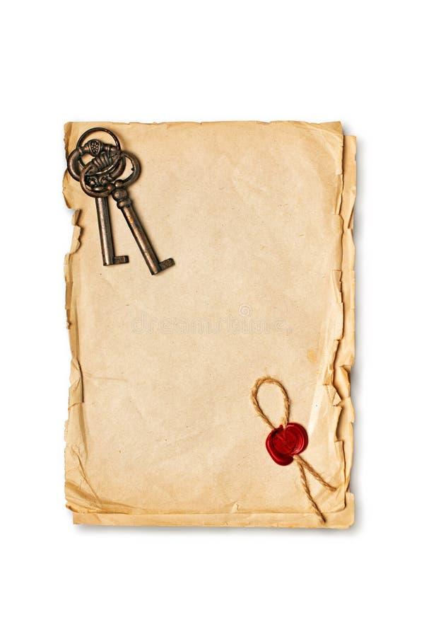 嘲笑空的老与红色蜡封印和减速火箭的钥匙的葡萄酒纸板料 库存照片