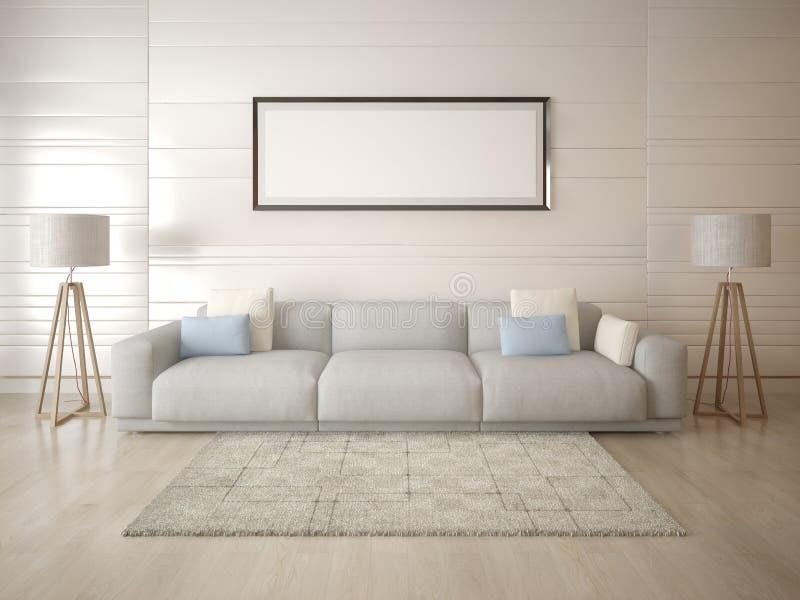 嘲笑轻的背景的一个宽敞客厅 库存图片