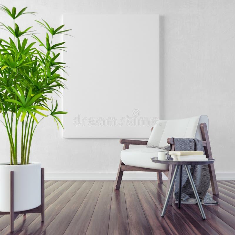 嘲笑,现代客厅,室内设计3D回报 库存例证