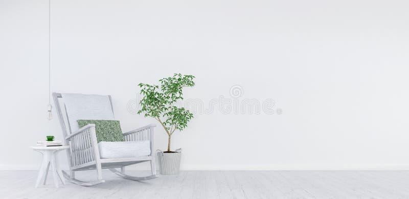 嘲笑,现代白色客厅,室内设计3D回报 向量例证