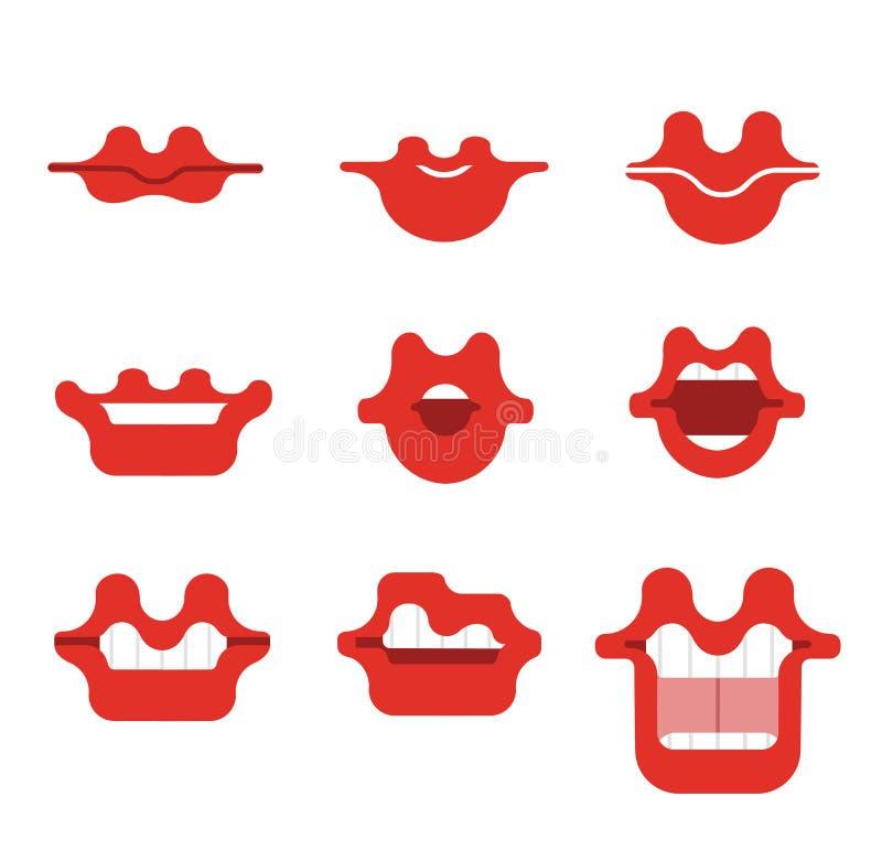 嘴动画片传染媒介微笑集合 滑稽的动画片嘴设置用不同的表示 微笑与牙,与舌头, sur的开放嘴 皇族释放例证