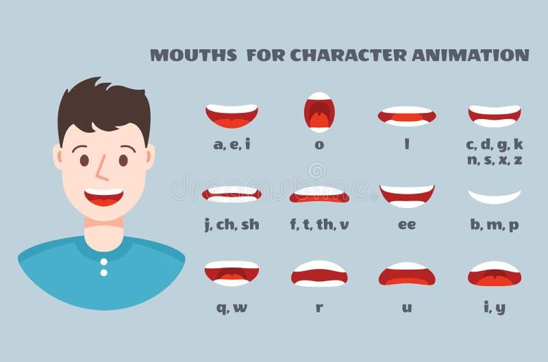 嘴同步 与谈的嘴唇的男性面孔表示集合 清楚的发音和微笑,讲的嘴动画传染媒介 向量例证