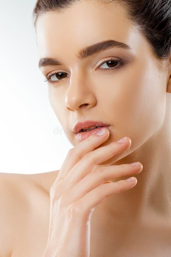 嘴唇保护 美丽的少妇健康嘴唇特写镜头  与光滑的完善的皮肤的女性式样嘴 库存图片