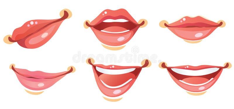 嘴唇性感的微笑妇女 皇族释放例证