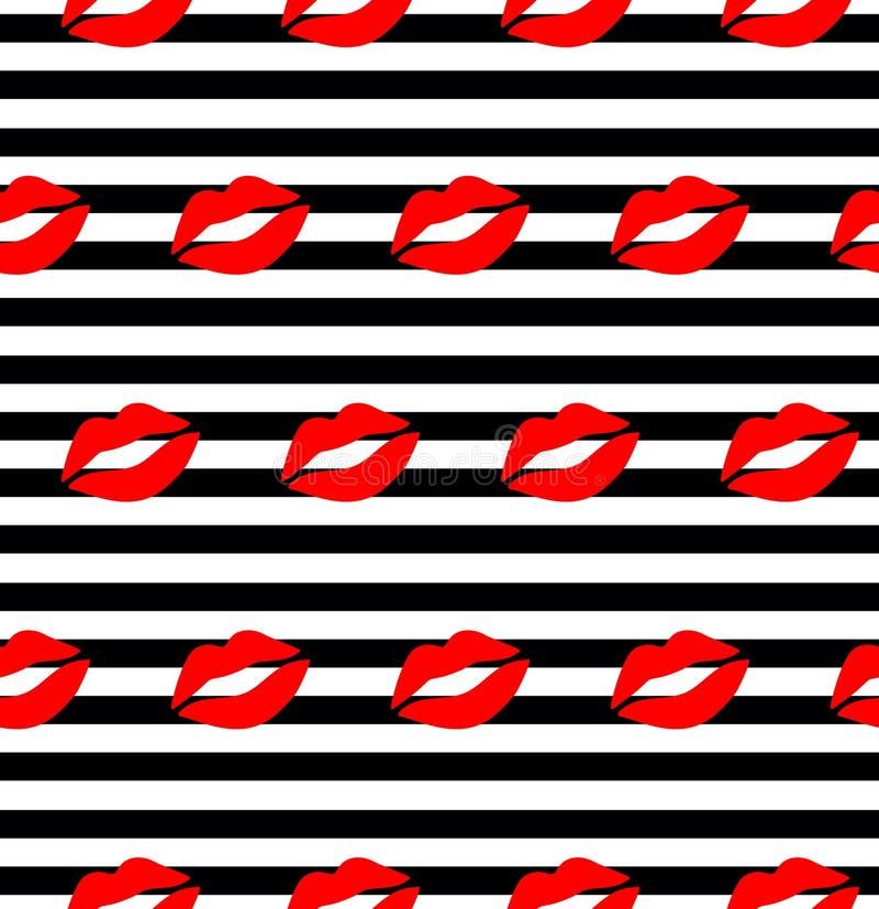 嘴唇样式 导航与红色妇女的` s和在白色隔绝的桃红色亲吻的平的嘴唇的无缝的样式 向量例证