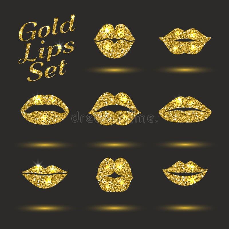 嘴唇金集合 设计闪烁元素 E 亲吻印刷品的传染媒介例证与淡光的 库存例证