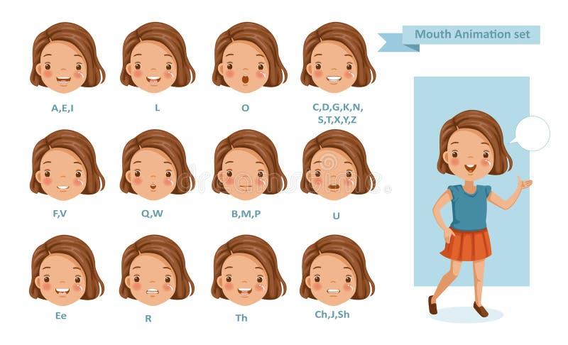 嘴女孩动画 向量例证