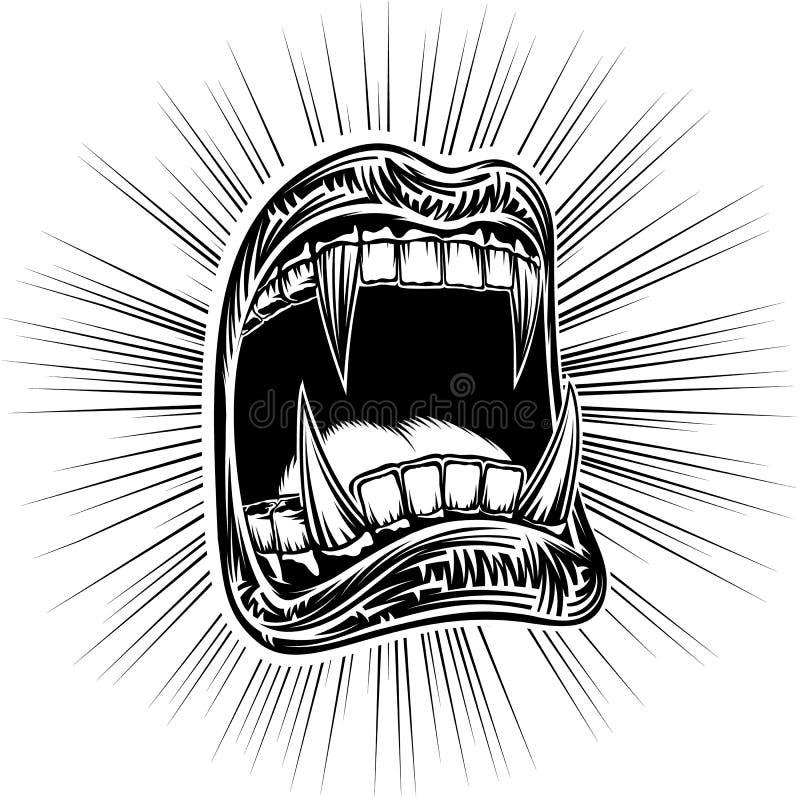 嘴开放万圣夜妖怪吸血鬼下颌犬齿邮票印刷品黑色 库存例证