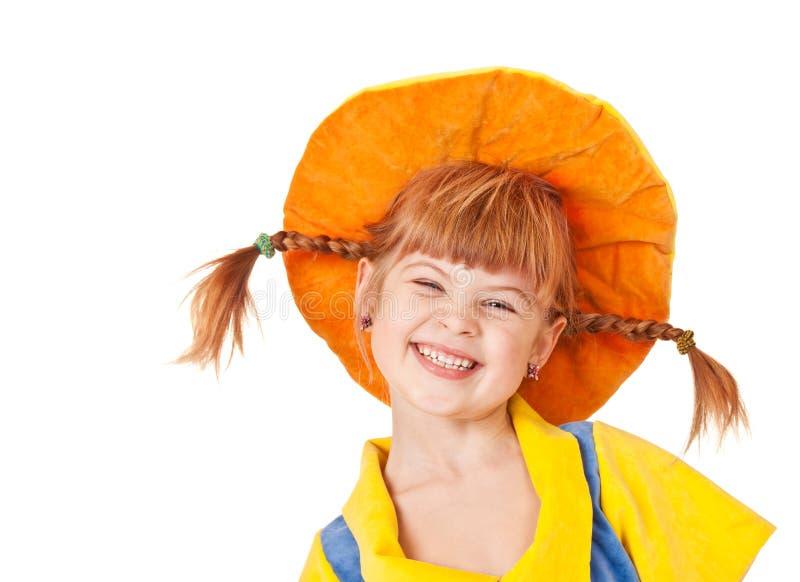 嘻嘻笑的女孩甜点 免版税库存照片