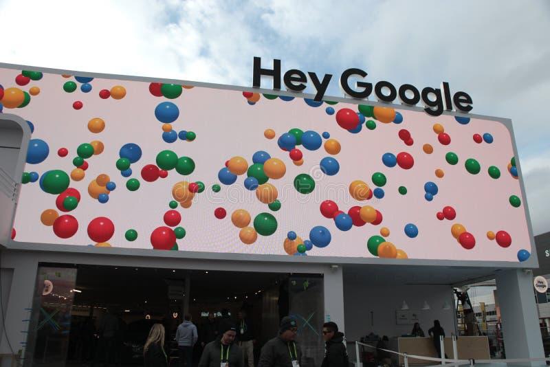 嘿在CES的谷歌pavillion 2019年 库存图片