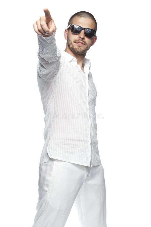 嘿您,是您,指向您的商人,在白色背景隔绝了 库存图片