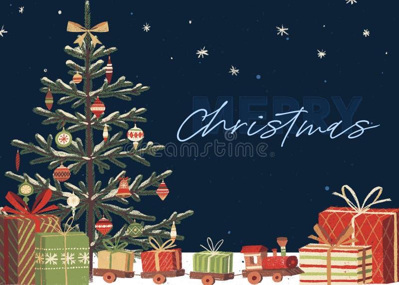 噢圣诞树假日卡片模板 向量例证