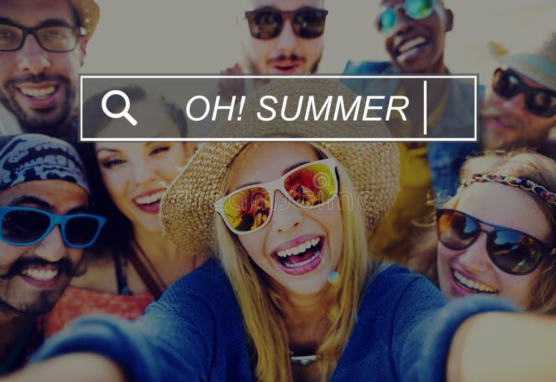 噢夏天享受乐趣海滩热带概念 免版税库存照片