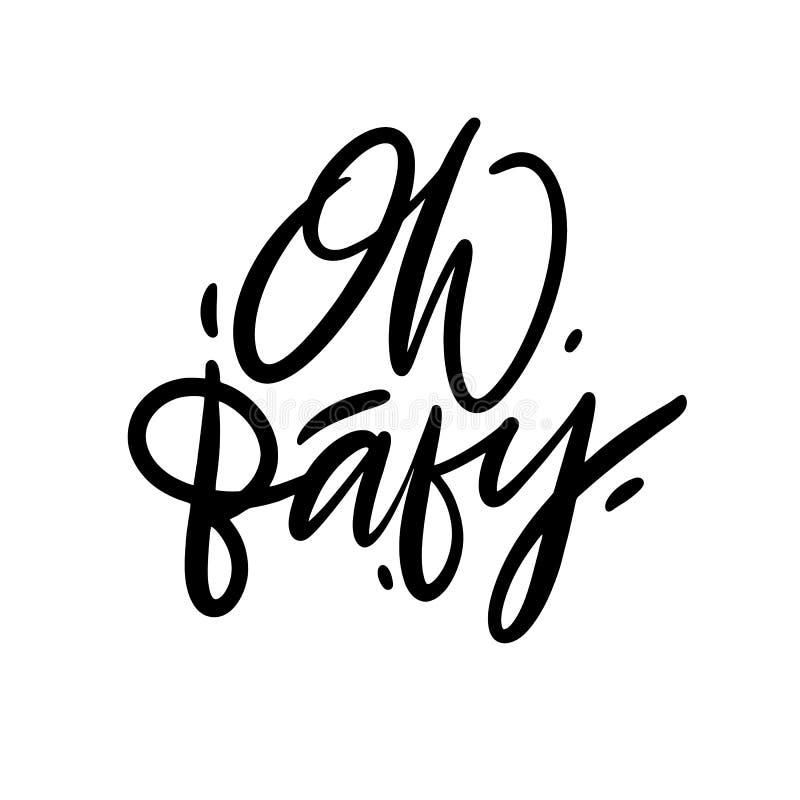噢,婴孩手拉的传染媒介字法 背景查出的白色 向量例证