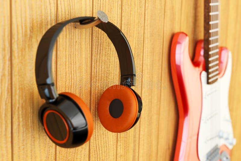 器乐听的概念,录音室设备 免版税库存照片