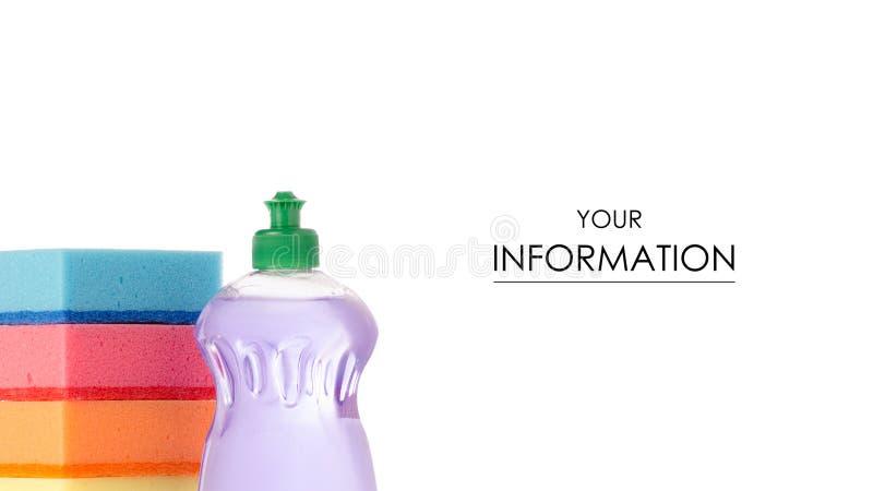 器物的洗碗样式的洗涤剂和海绵 库存图片