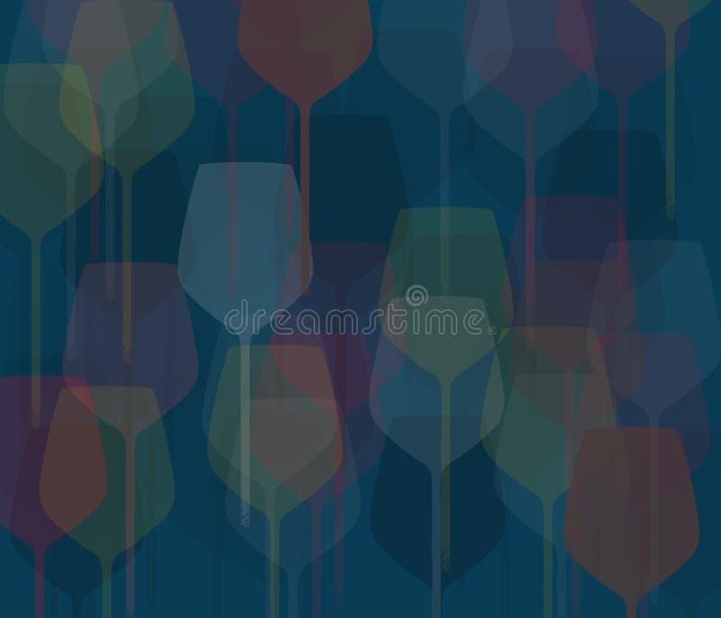 器皿、酒和香槟玻璃在背景设计被看见 皇族释放例证
