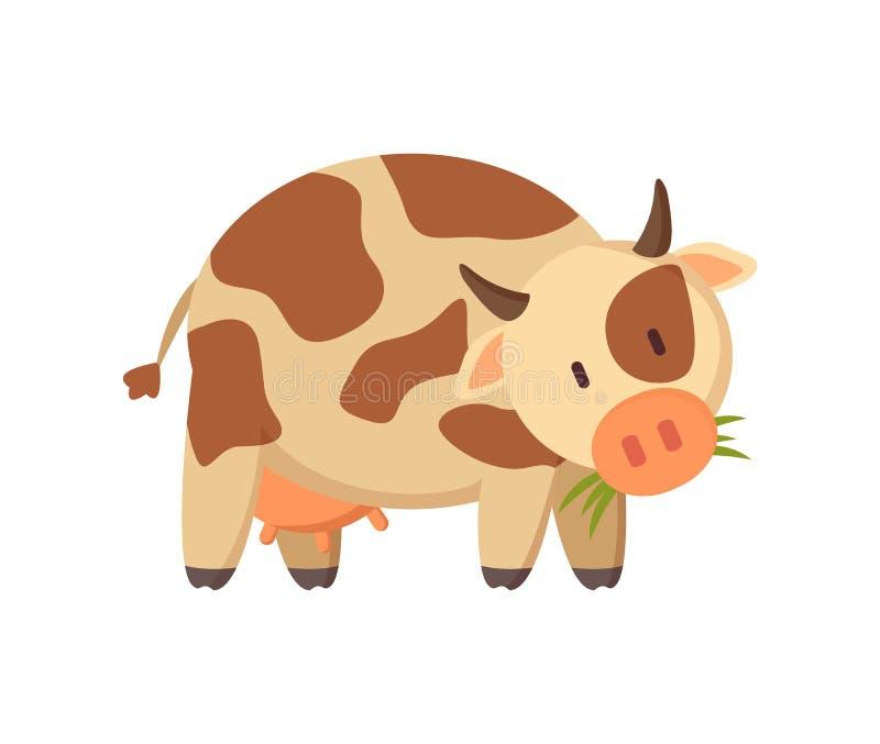嚼草农厂或大农场动物的被察觉的母牛 皇族释放例证