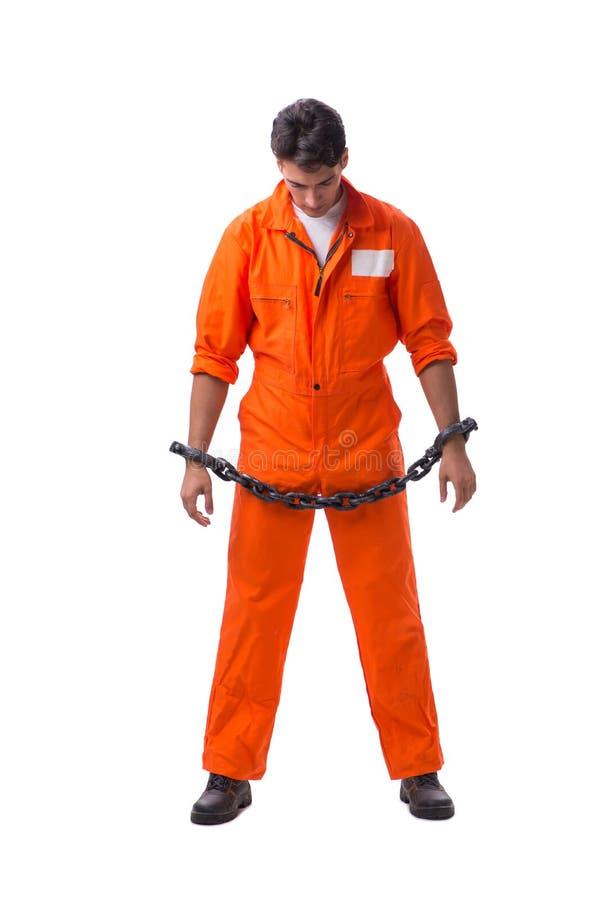 囚犯用他的手在白色背景束缚了隔绝 库存图片