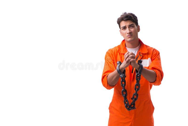 囚犯用他的手在白色背景束缚了隔绝 图库摄影