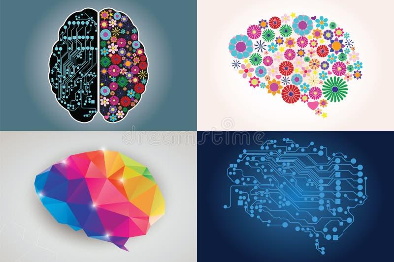 四不同人脑,左右边的汇集 向量例证