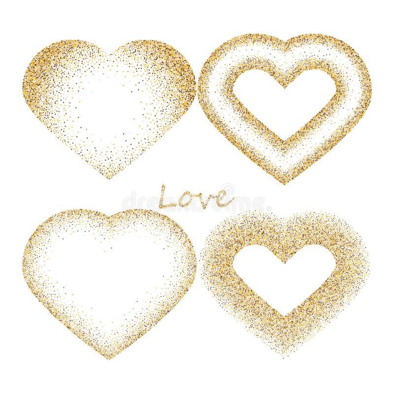 四不同心脏形状从金黄在白色隔绝的闪烁和桃红色驱散的 E 皇族释放例证