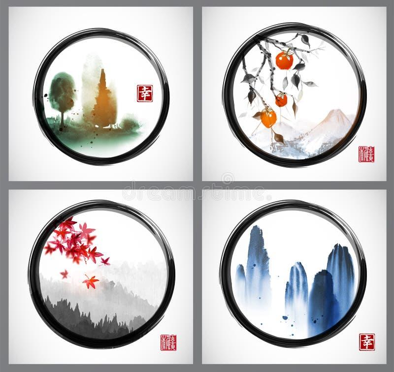 四与山和树的例证在传统东方墨水绘画sumi-e, u罪孽,黑enso禅宗的去华 向量例证