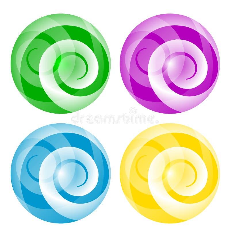 四与螺旋的抽象球 向量例证