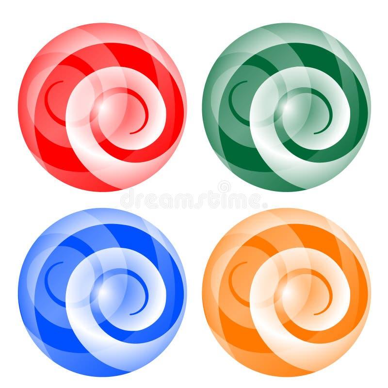 四与螺旋的抽象球 皇族释放例证