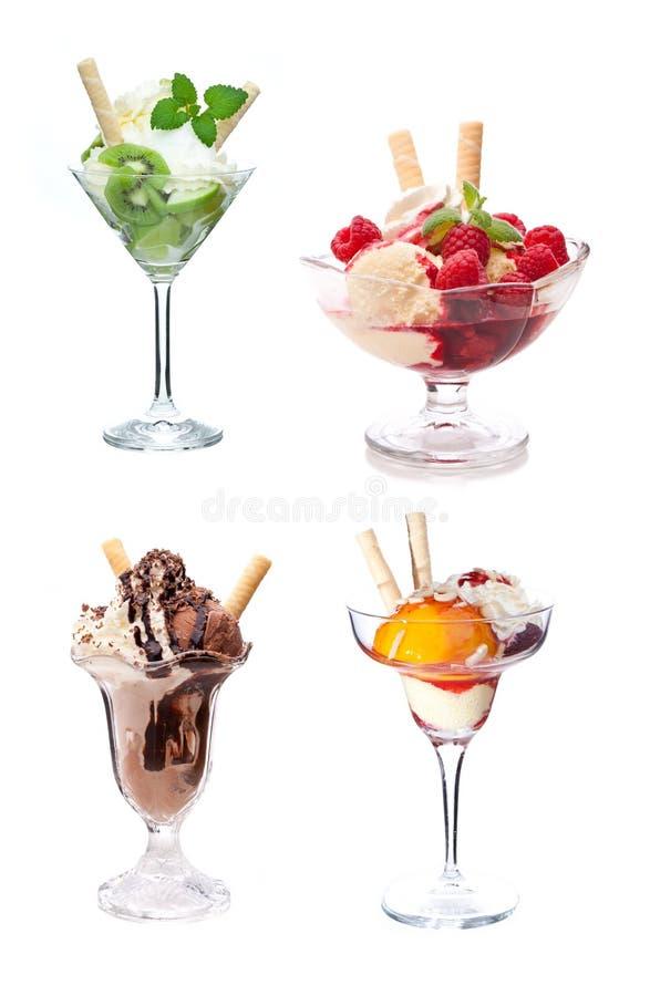 四个不同冰淇淋圣代冰淇淋 免版税库存照片