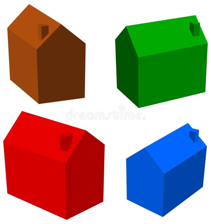 四个不同房子serie - 3D例证 皇族释放例证