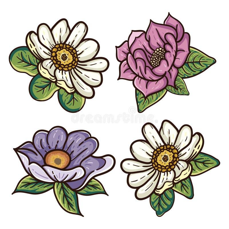 四个五颜六色的葡萄酒花卉例证 向量例证